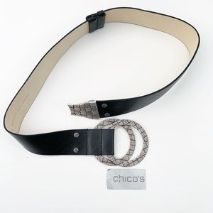 Chico's statement leather belt black silver m l